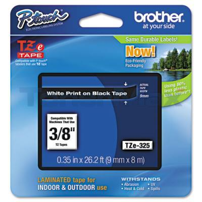 BROTHER TZ LAMINATED TAPE WHITE ON BLACK 0.35 IN X 26.2 FT